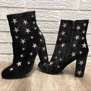 Crushed Velvet , Round Toe, Side Zip, Star Booties